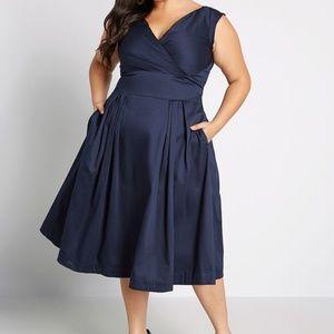 Modcloth Emily & Fin Blue Keener Postures Dress
